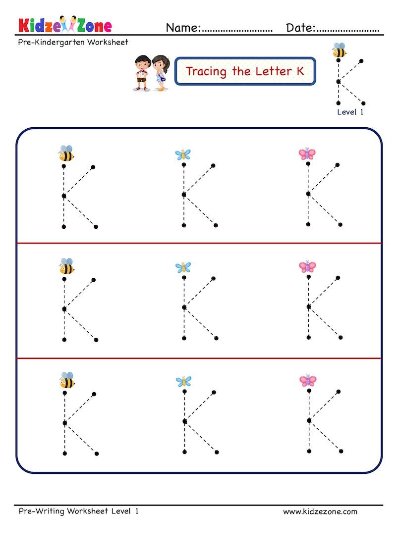 Preschool Letter K Tracing Worksheet - Big Font - Kidzezone
