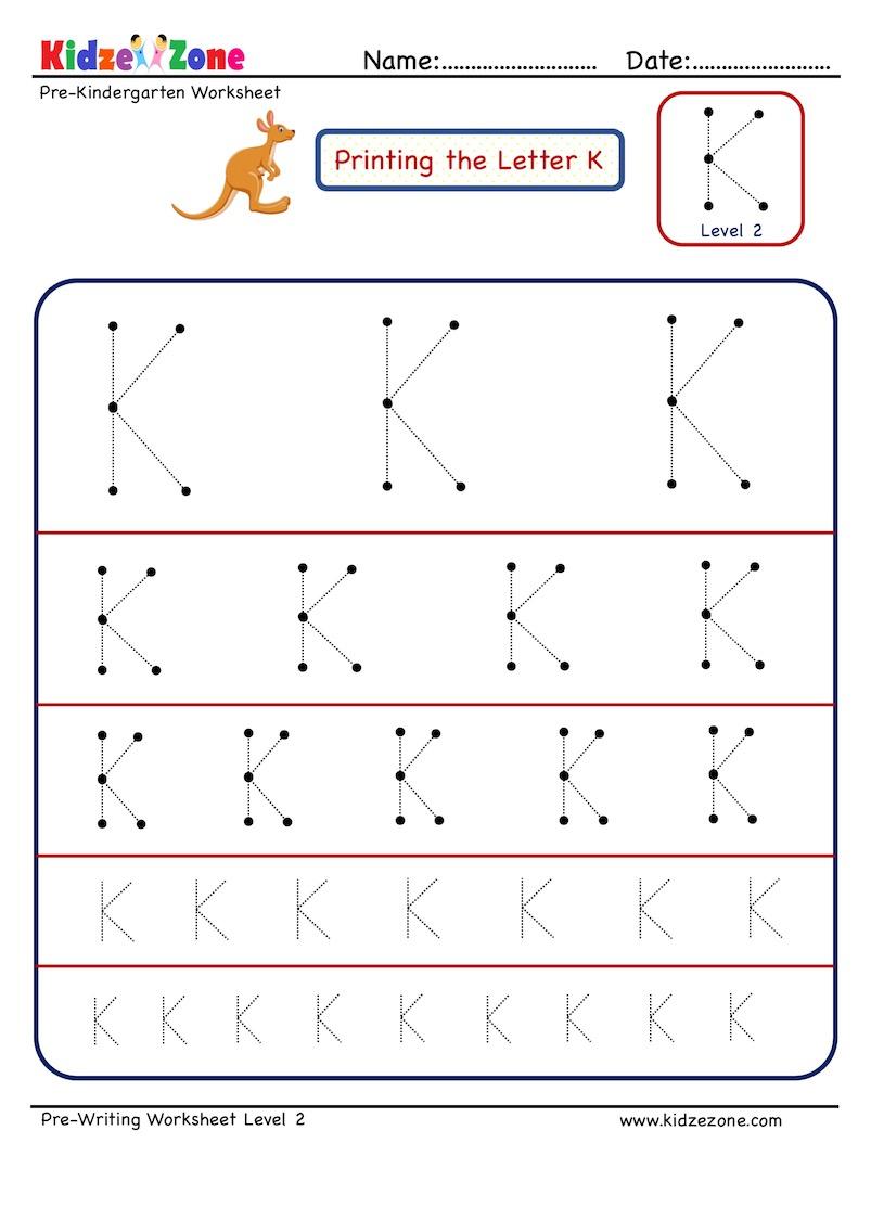 Preschool Letter K Tracing Worksheet - Different Sizes