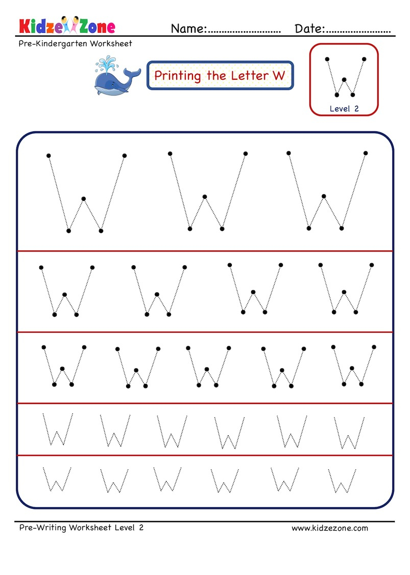 Preschool Letter W Tracing Worksheet - Different Sizes