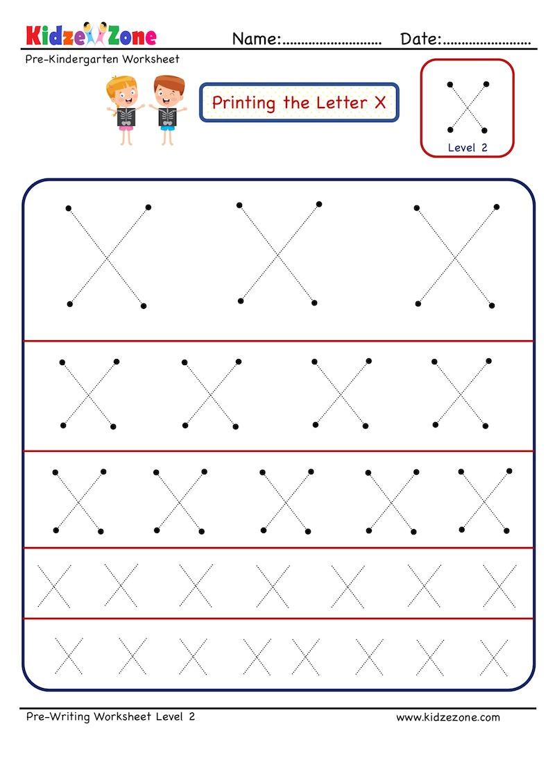 Preschool Letter X Tracing Worksheet In Different Sizes