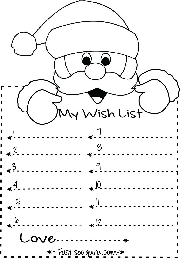 Print Out Christmas Wish List To Santa Write Template | Kids