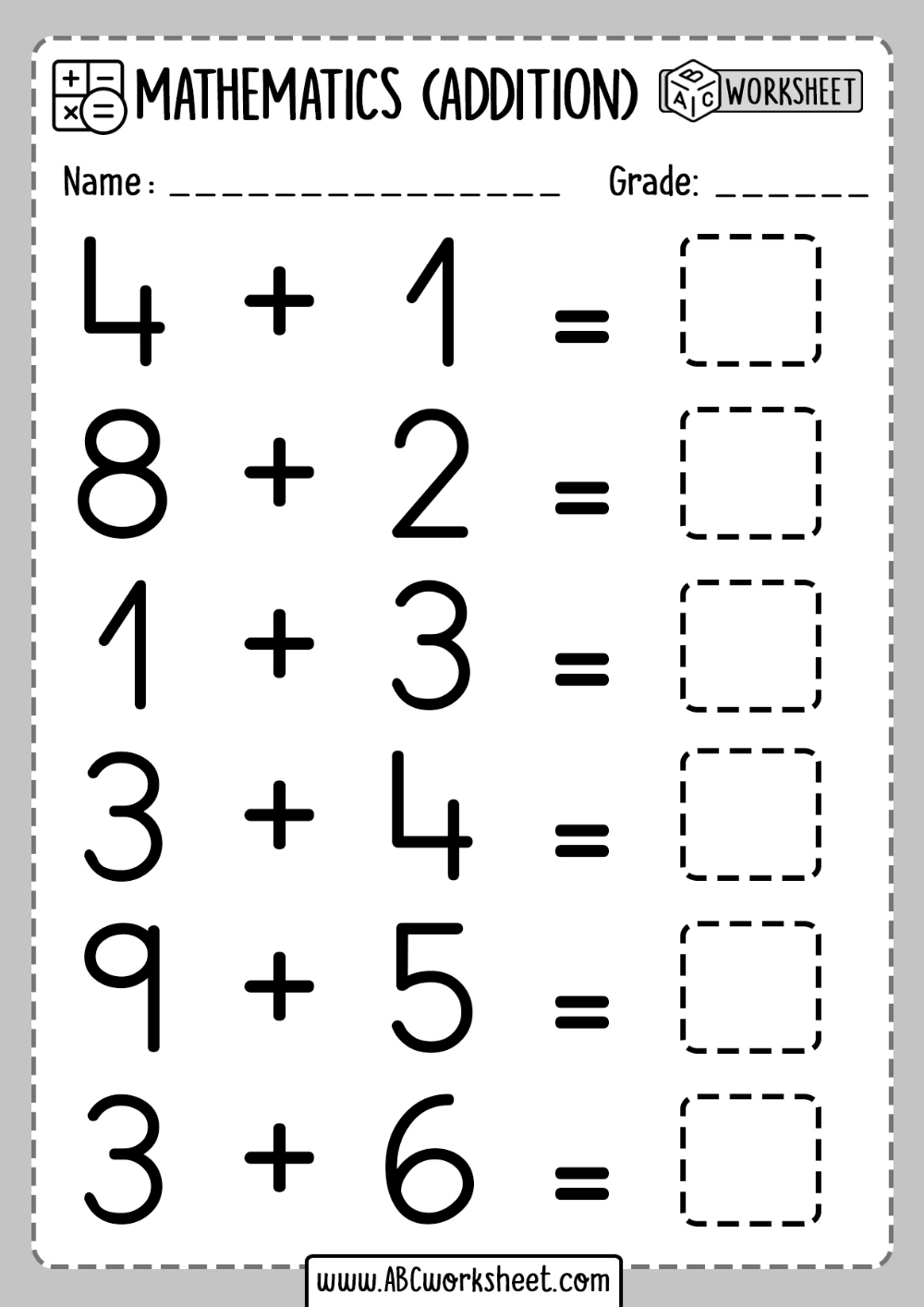 Printable Addition Activities For Kindergarten - Abc