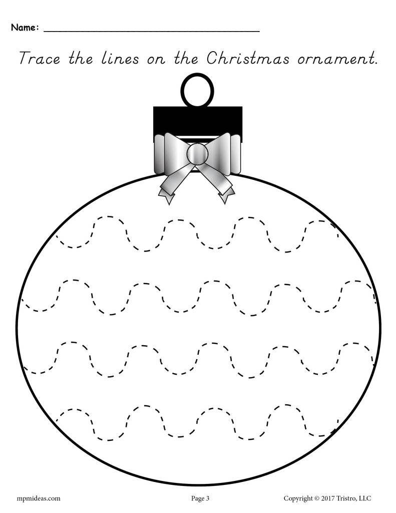Printable Christmas Ornament Line Tracing Worksheets