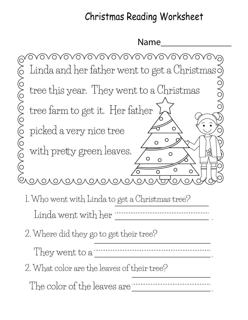 Printable Christmas Reading Worksheets For Kids   K5