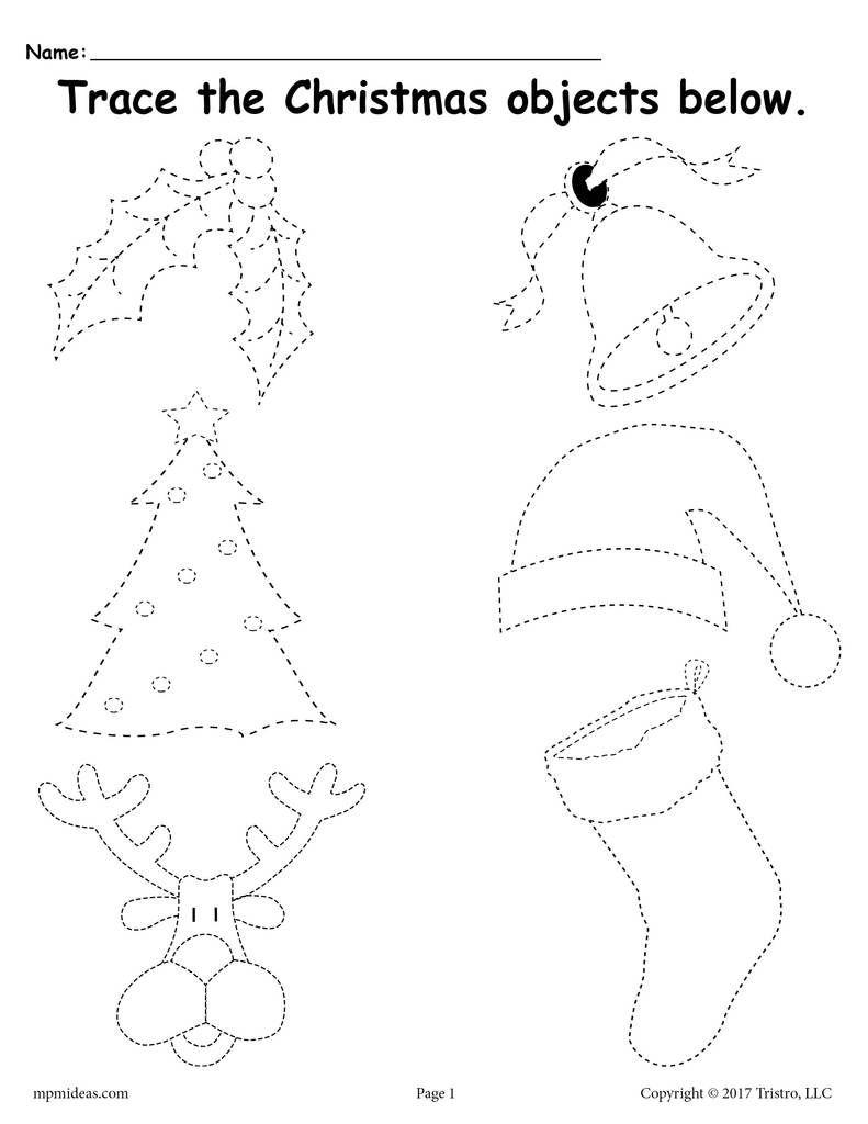 Printable Christmas Tracing Worksheet!   Christmas