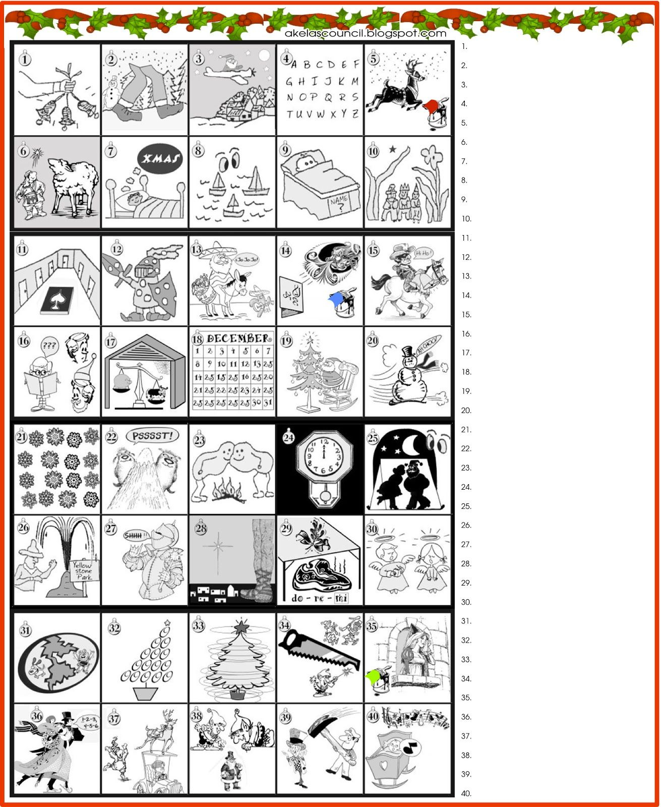 Printable Guess The Christmas Songs Or Carols Word Puzzle