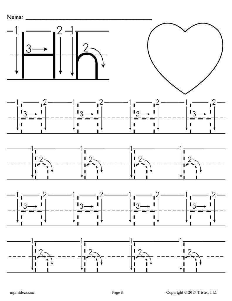 Printable Letter H Tracing Worksheet With Number And Arrow