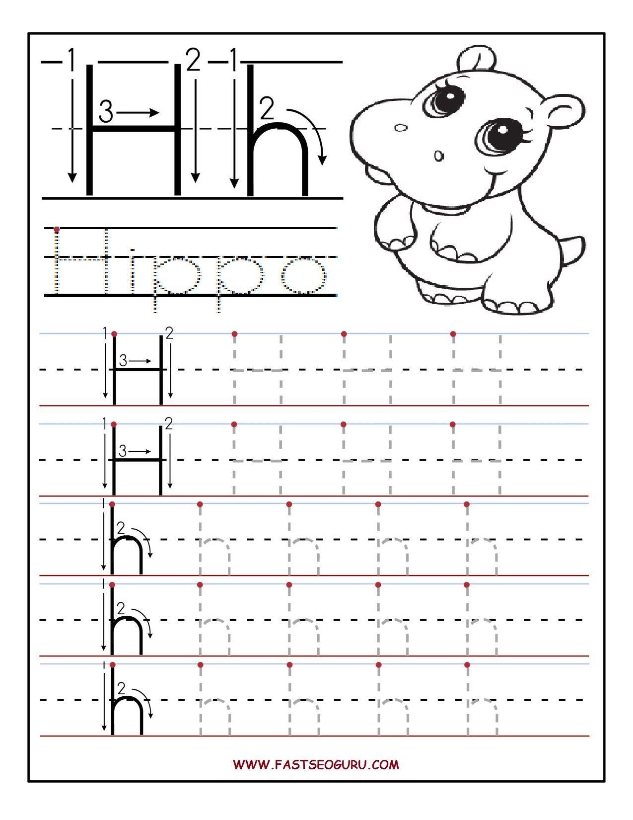 Printable Letter H Tracing Worksheets For Preschool