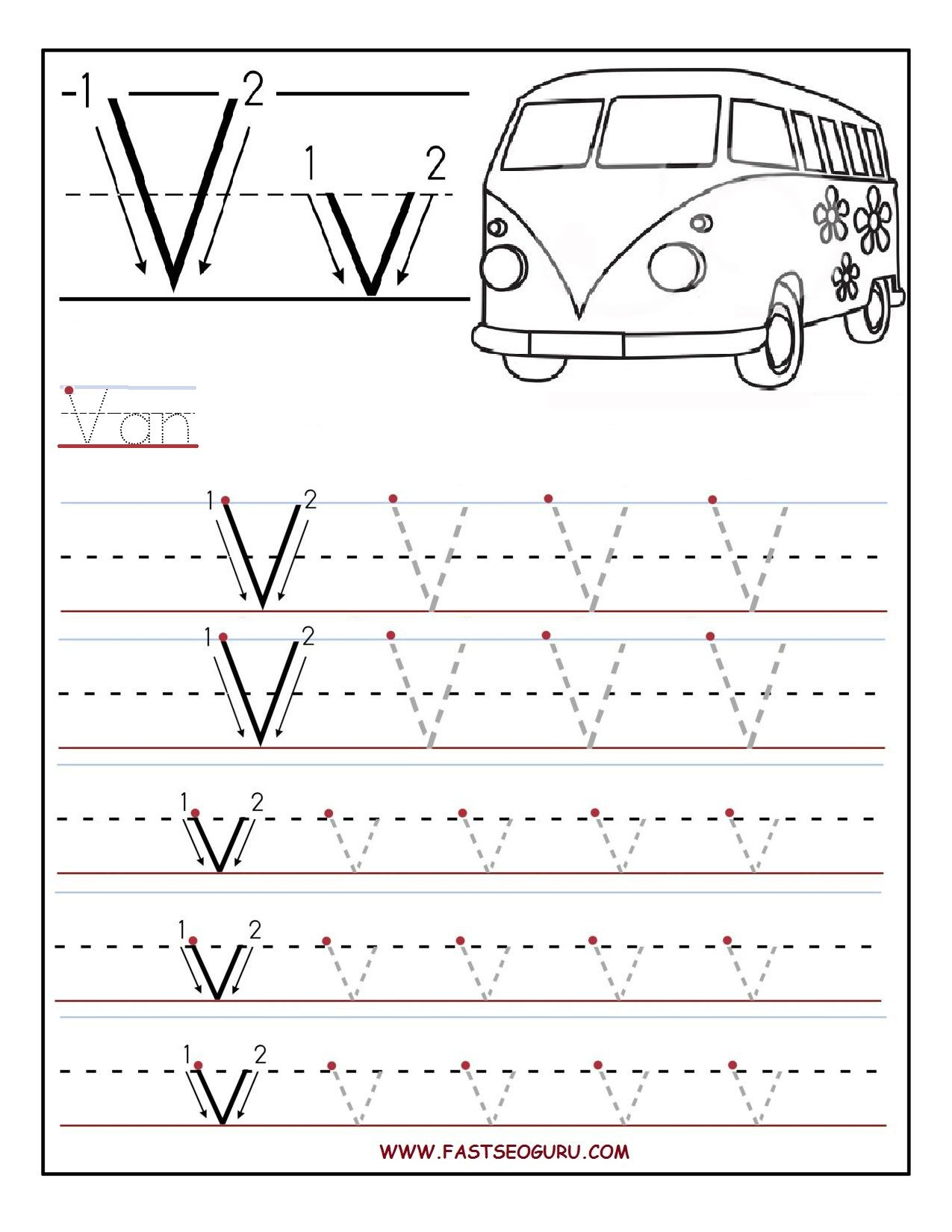 Printable Letter V Tracing Worksheets For Preschool | Letter
