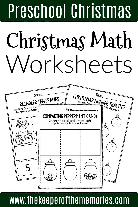 Printable Math Christmas Preschool Worksheets