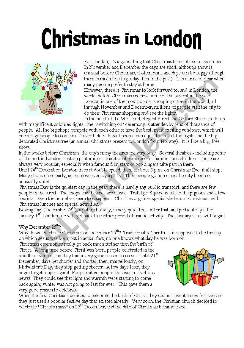 Reading: Christmas In London (Part 1) - Esl Worksheet