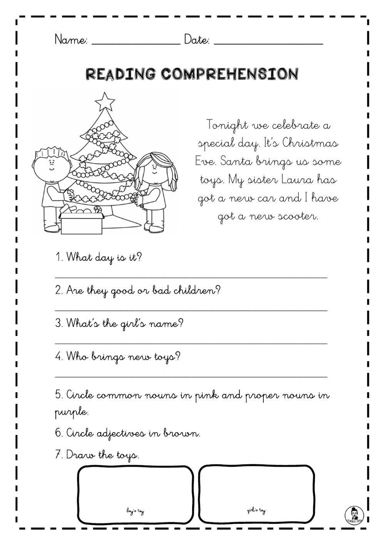 Reading Comprehension Christmas Worksheet