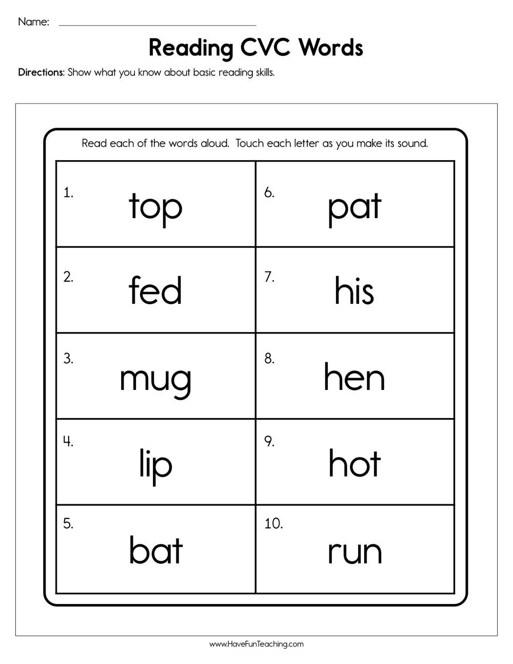 Reading Cvc Words Worksheet Have Fun Teaching Word Building