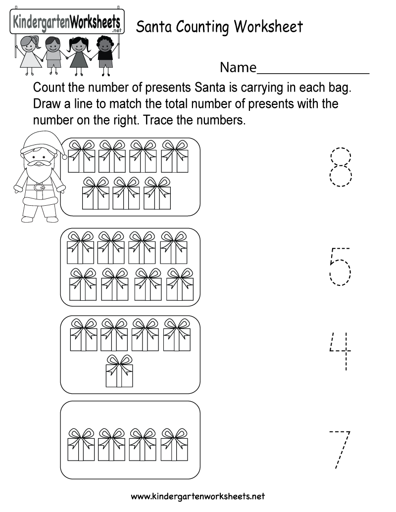 Santa Counting Worksheet - Free Kindergarten Holiday