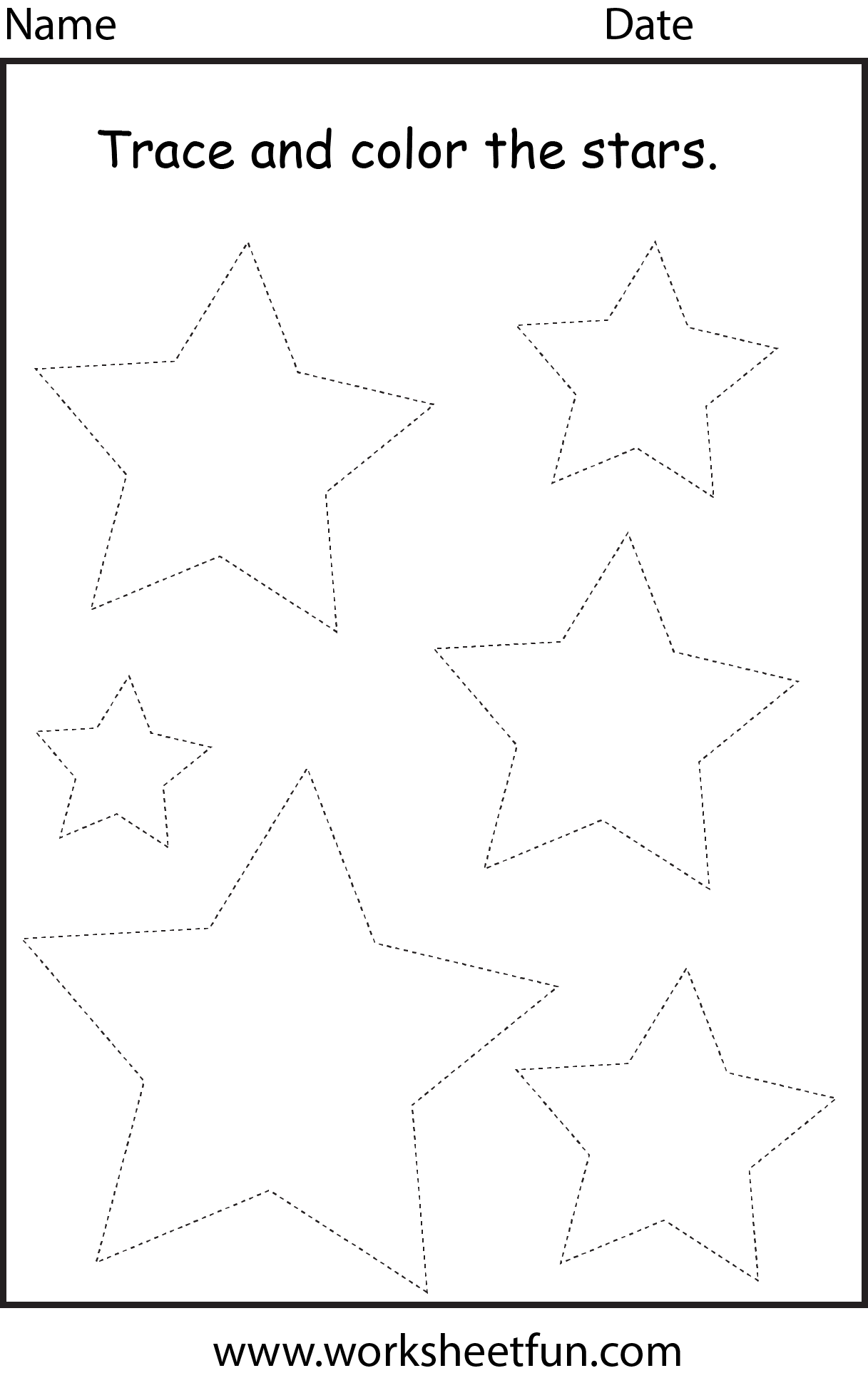 Shapes Star | Shape Tracing Worksheets, Shape Worksheets For