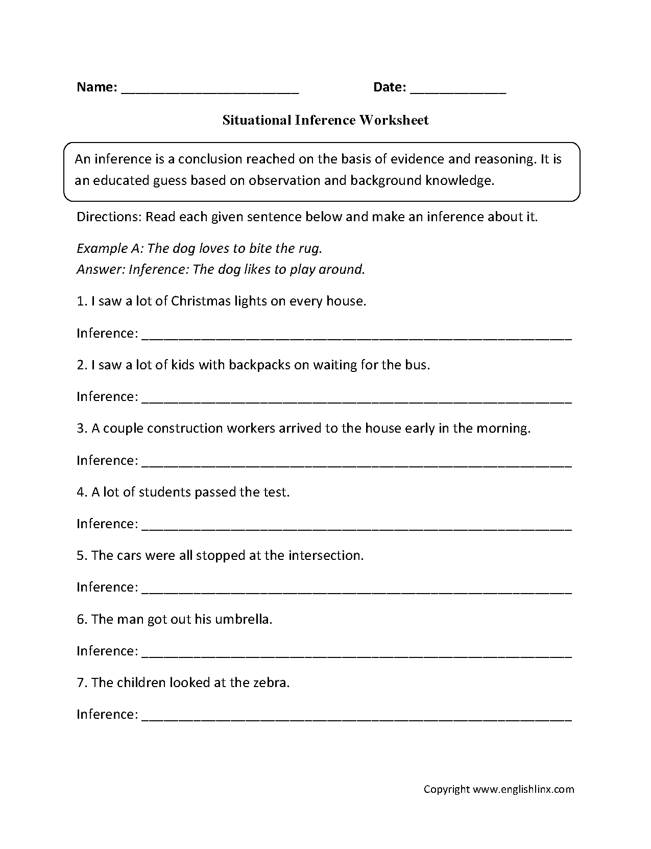 Situational Inference Worksheets   Reading Comprehension