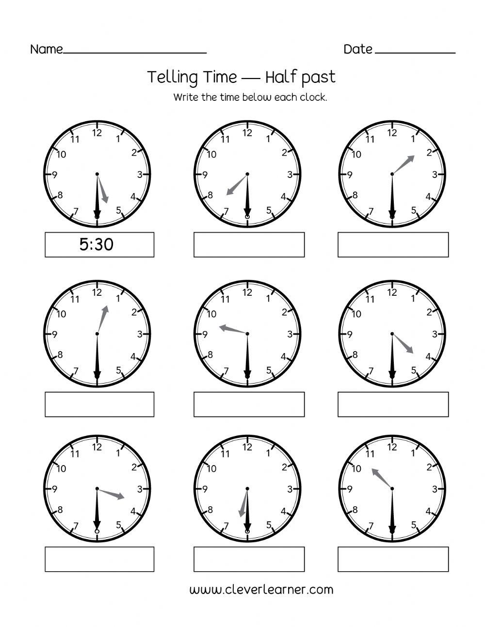 Telling Time To Half Hour Worksheet