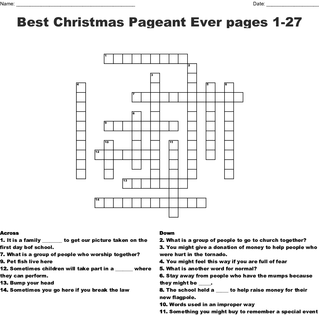 The Best Christmas Pageant Ever, Chapter 1 Crossword - Wordmint