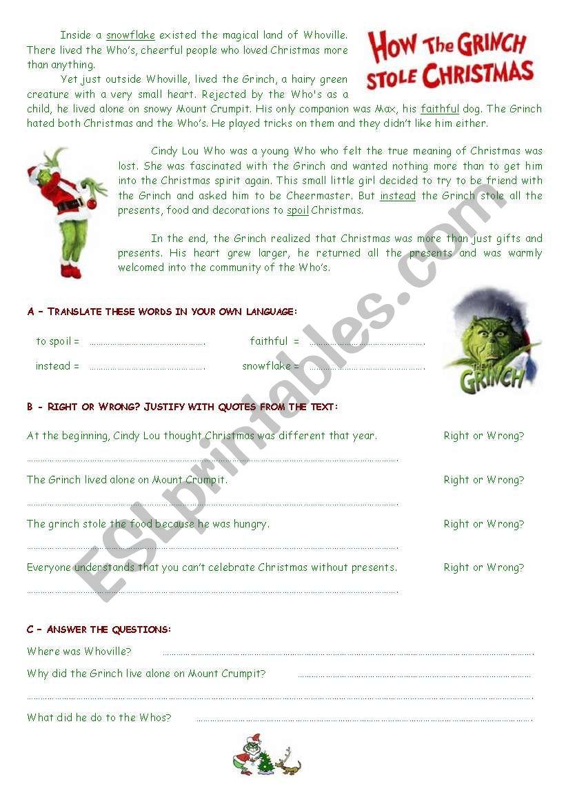 The Grinch - Reading Comprehension - Esl Worksheetestelle73