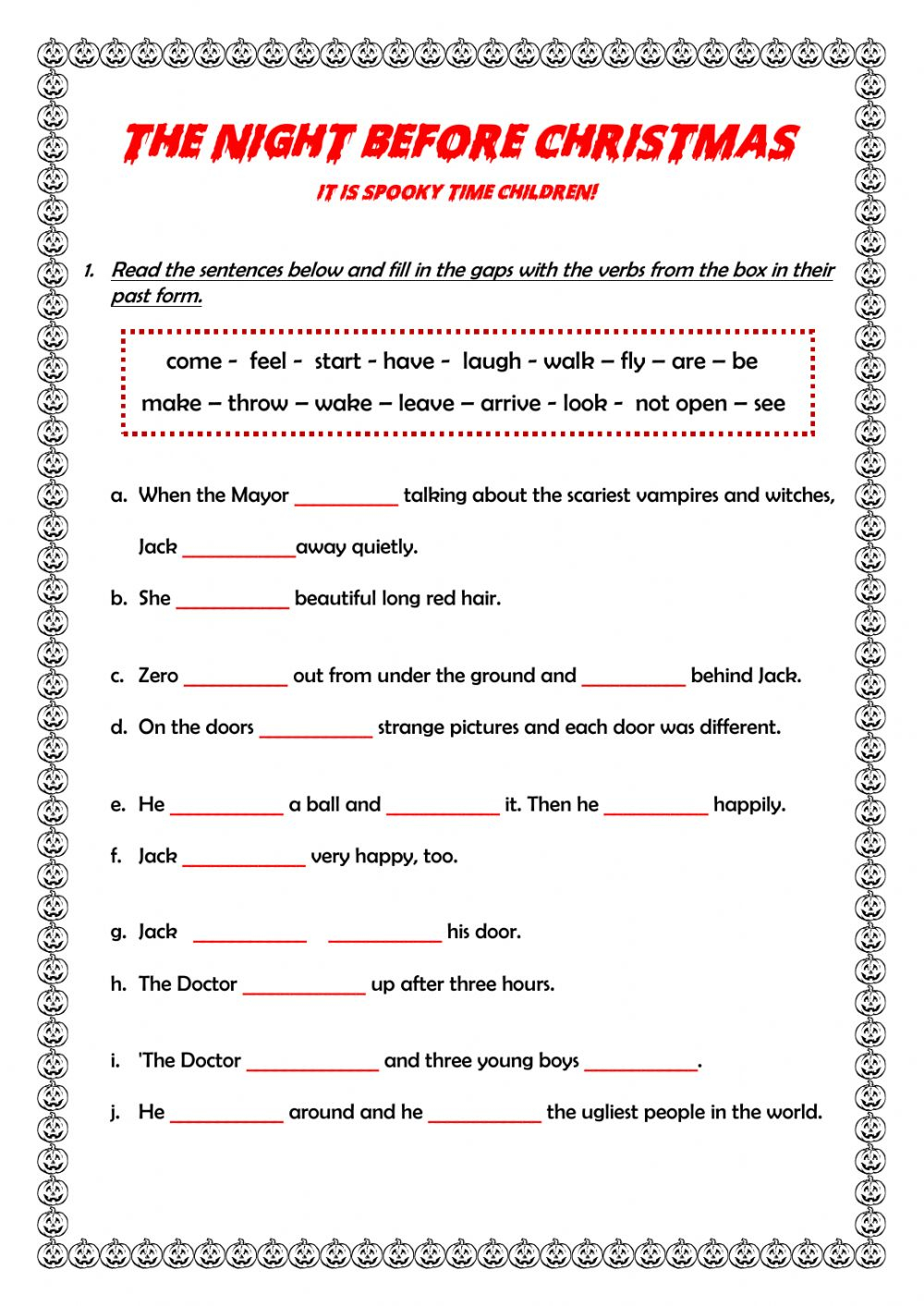 The Night Before Christmas Worksheet