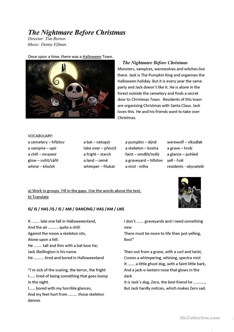 The Nightmare Before Christmas - English Esl Worksheets For