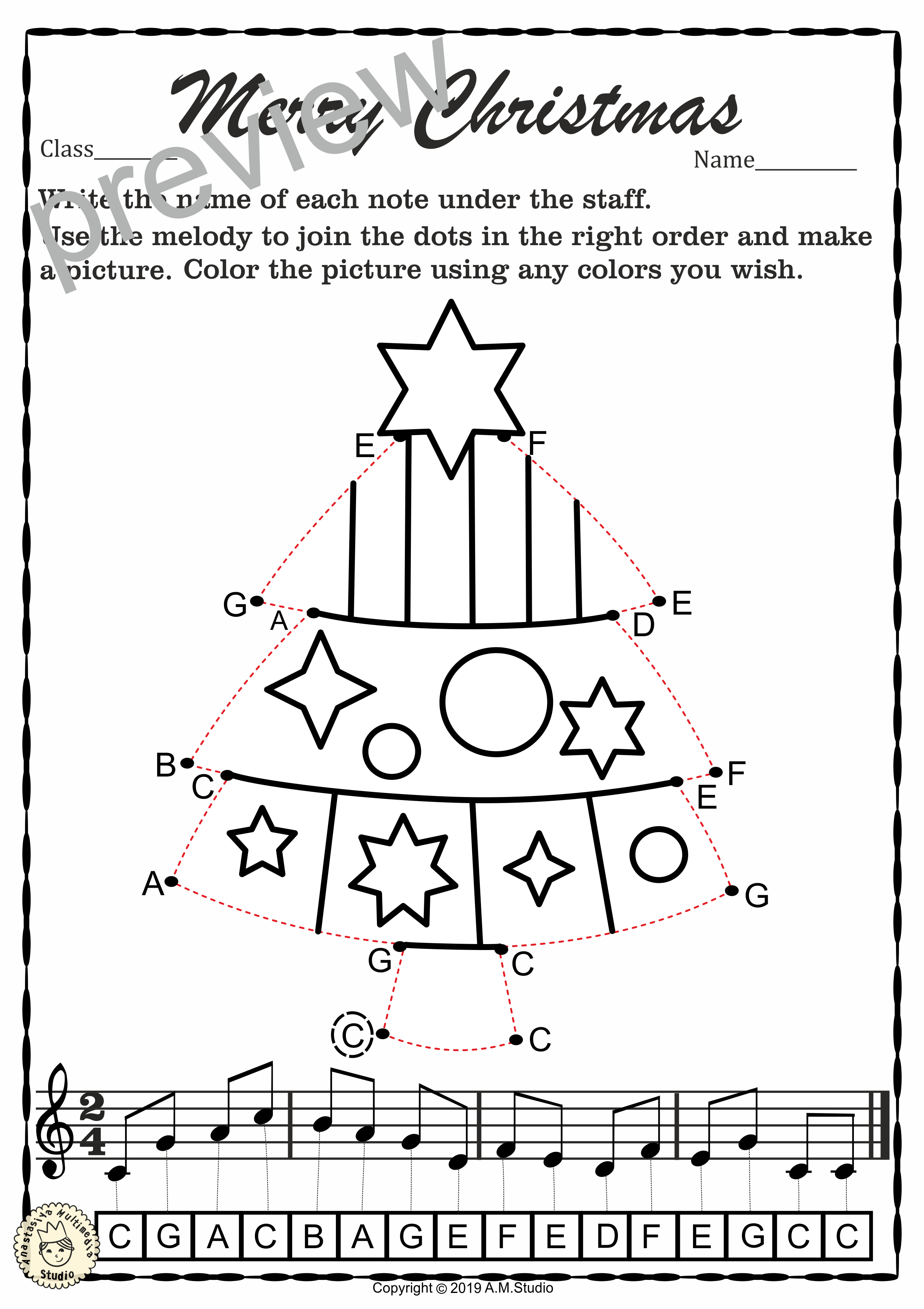 These Simple Christmas Themed Note-Reading Worksheets Can Be