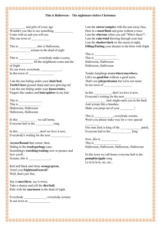 This Is Halloween - The Nightmare Before Christmas Worksheet