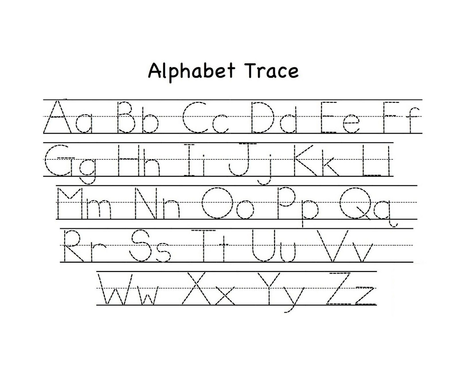 Traceable Upper And Lowercase Alphabet | Preschool Tracing