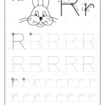 Tracing Alphabet Letter R. Black And White Educational Pages