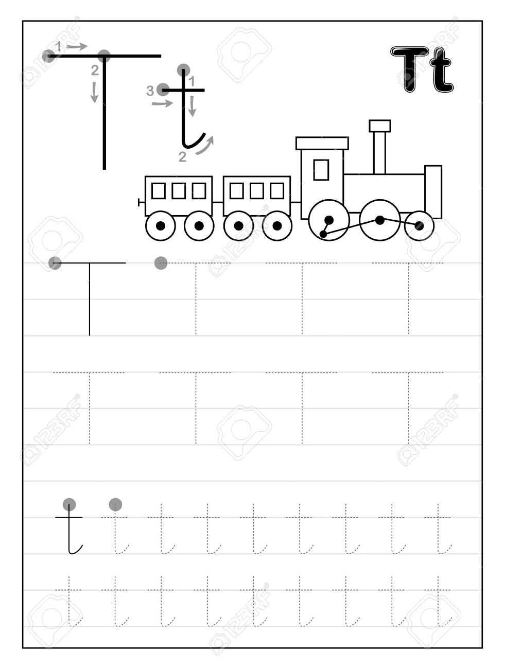 Tracing Alphabet Letter T. Black And White Educational Pages..