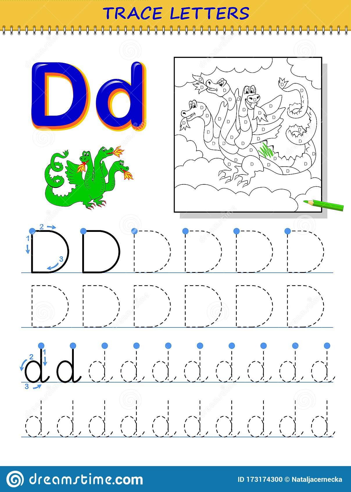 Tracing Letter D For Study Alphabet. Printable Worksheet For