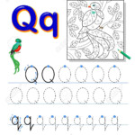 Tracing Letter Q For Study Alphabet. Printable Worksheet For..