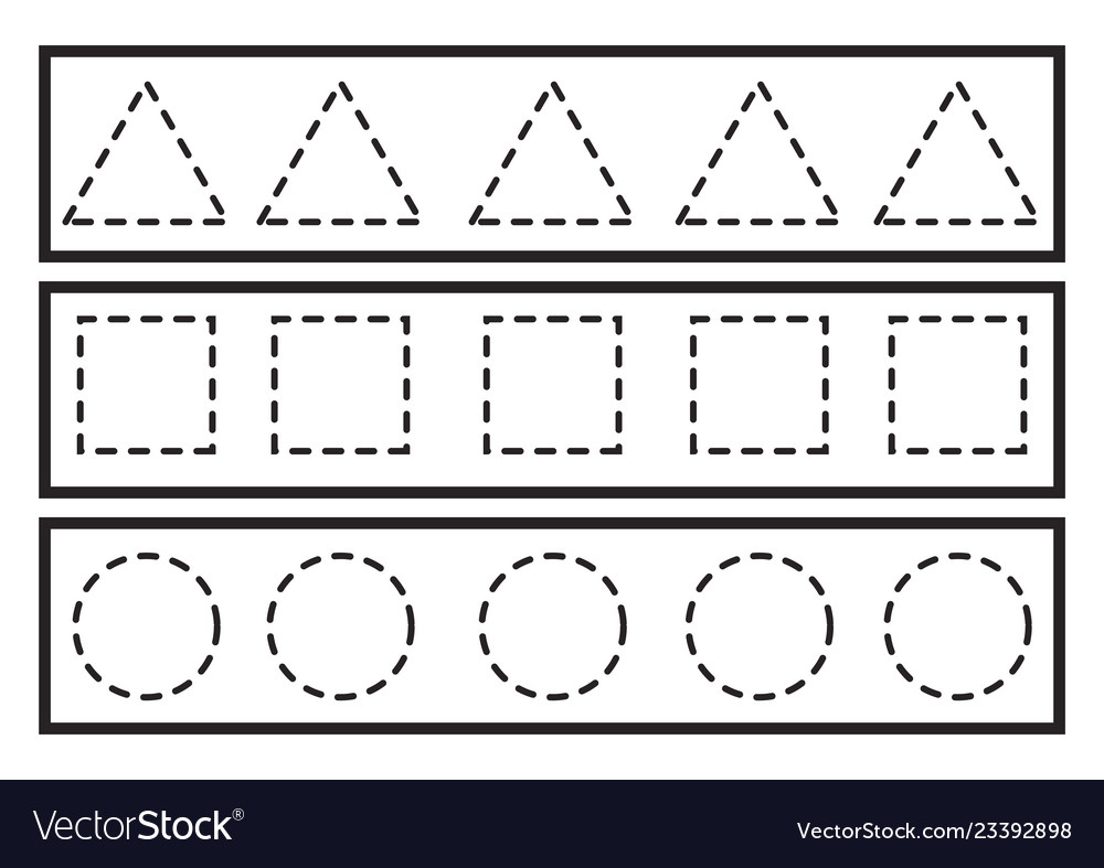 Tracing Lines For Preschool Or Kindergarten Vector Image