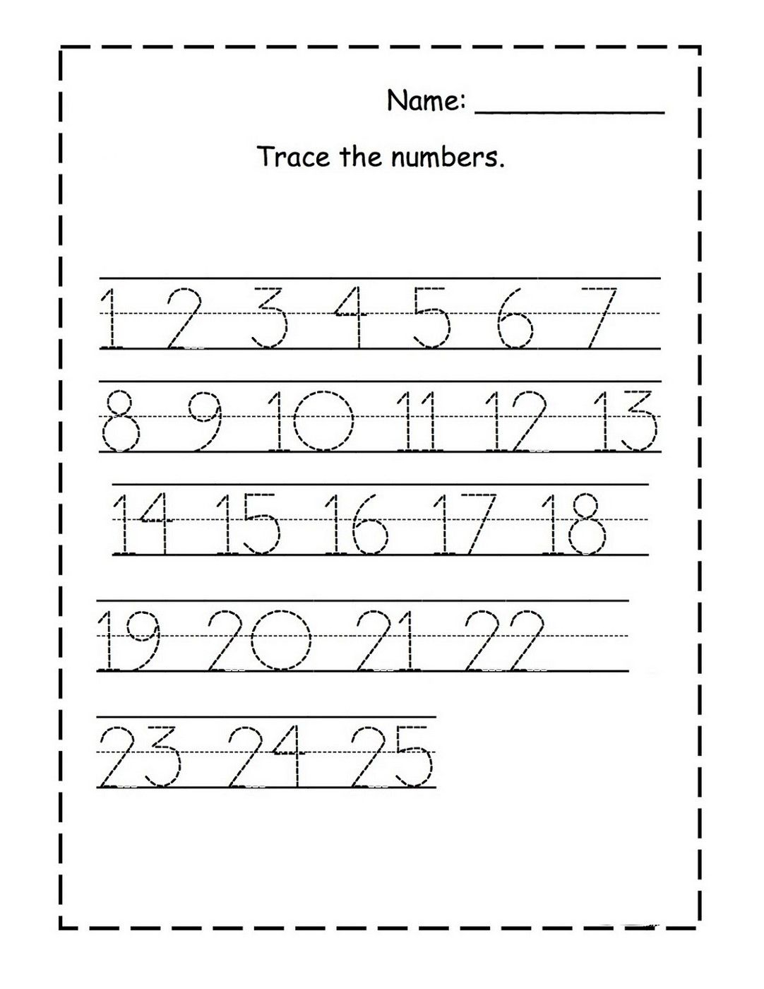 Tracing Numbers 1-25 For Kg Page | Numbers Preschool