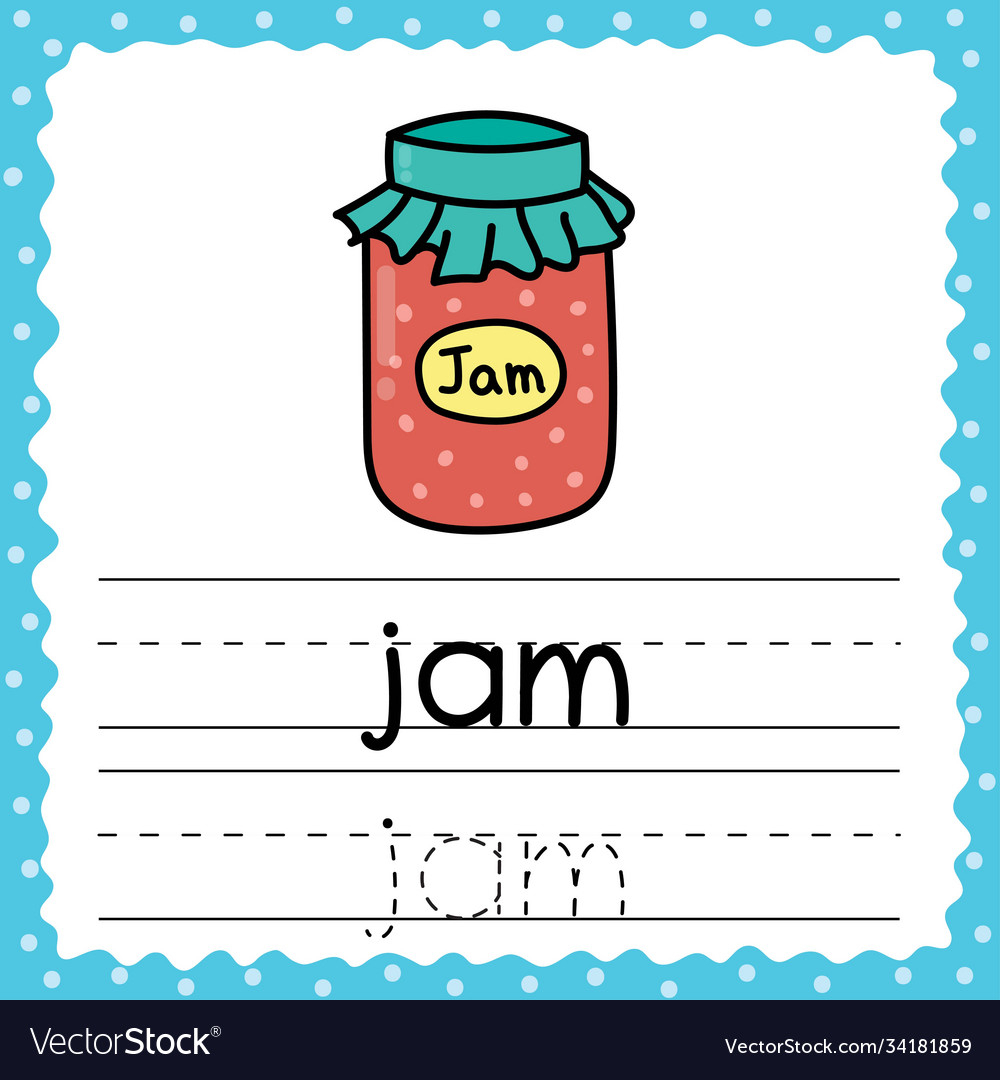 Tracing Words Flashcard - Jam Writing Practice Vector Image