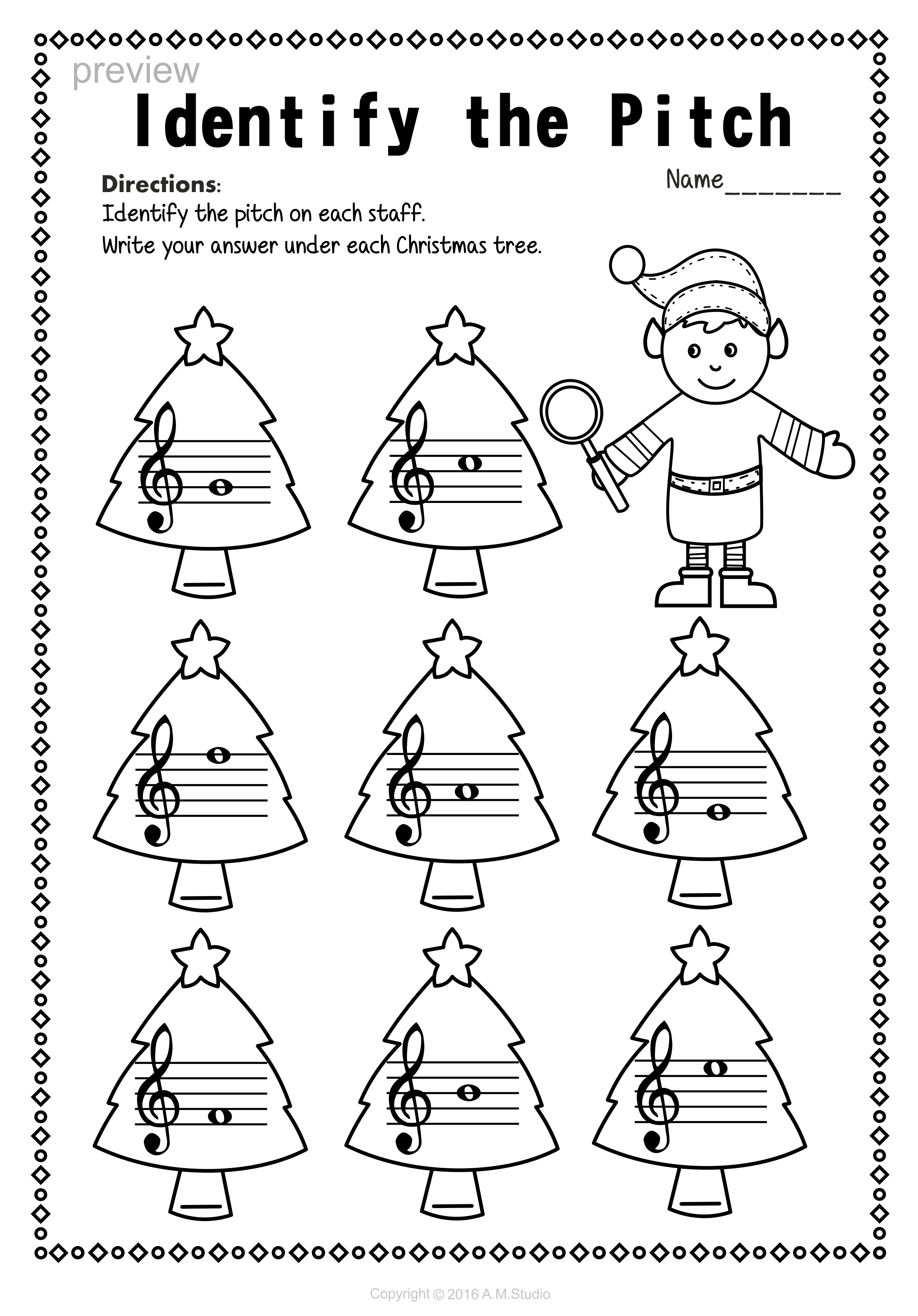 Treble Clef Note Names Worksheets For Christmas | Christmas
