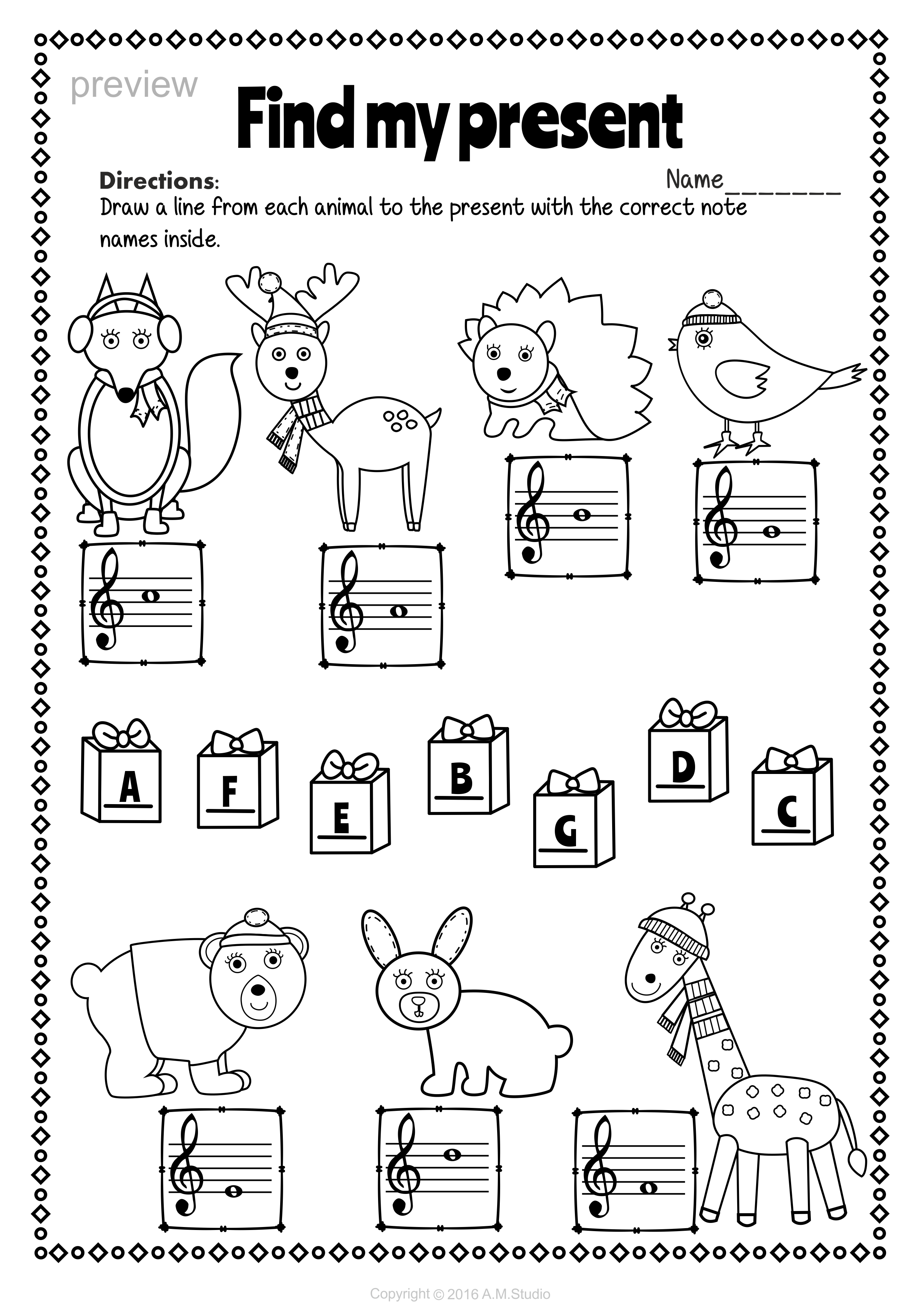 Treble Clef Note Names Worksheets For Christmas | Music