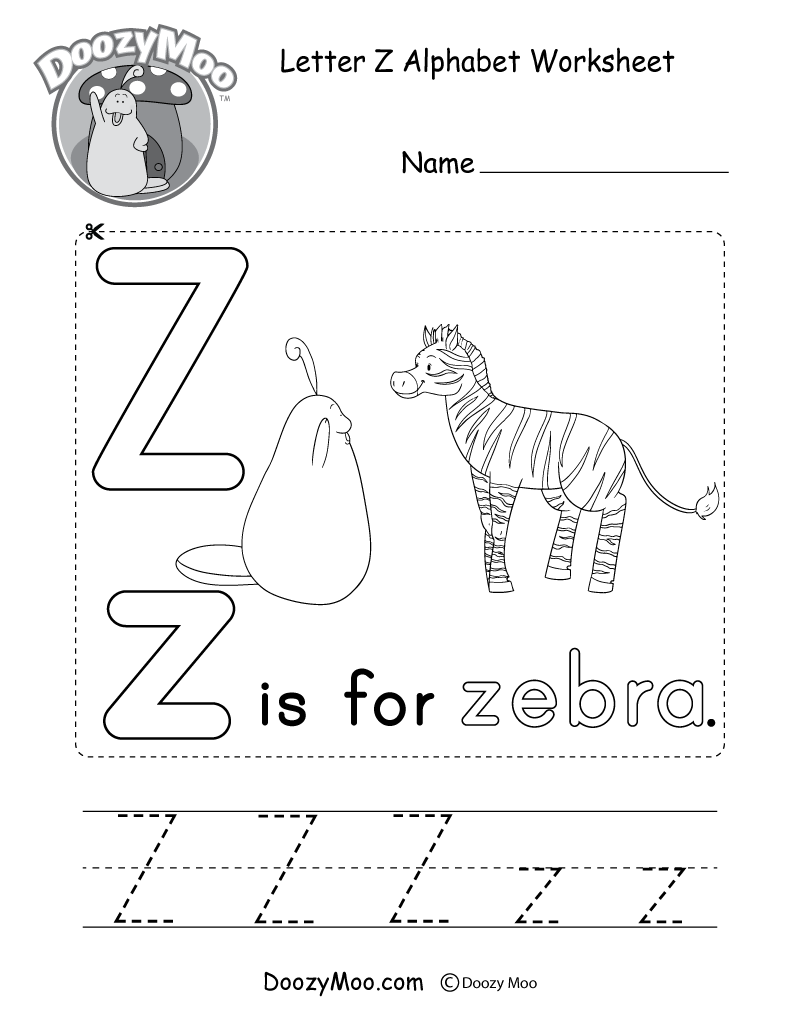 Uppercase Letter Z Tracing Worksheet - Doozy Moo