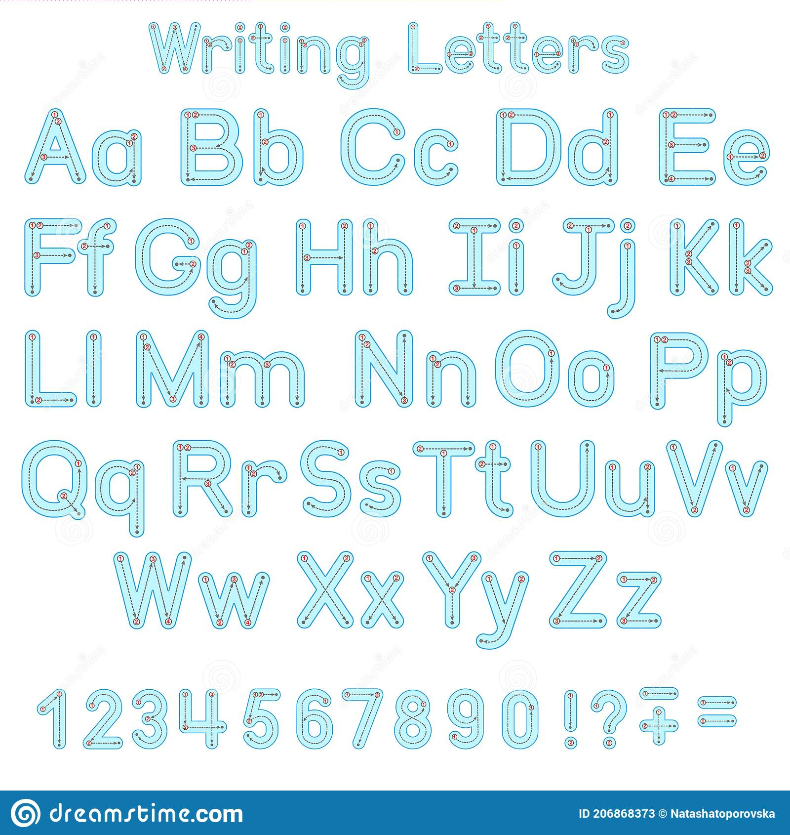 Vector English Tracing Alphabet. Writting Letters Font Dots