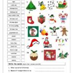 Vocabulary Matching Worksheet - Xmas   Christmas Worksheets