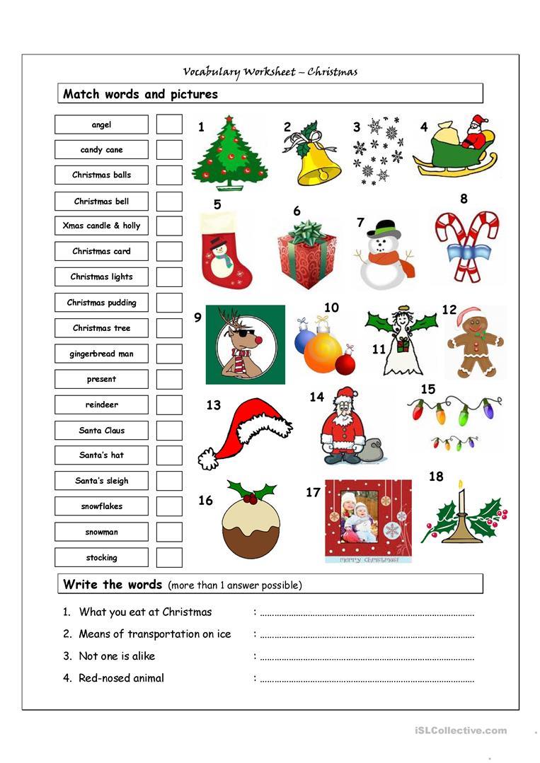 Vocabulary Matching Worksheet - Xmas - English Esl