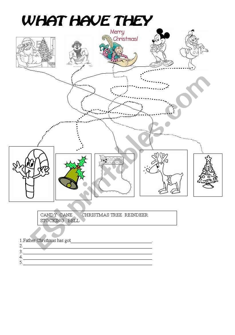What Have They Got? (Christmas Worksheet) - Esl Worksheet