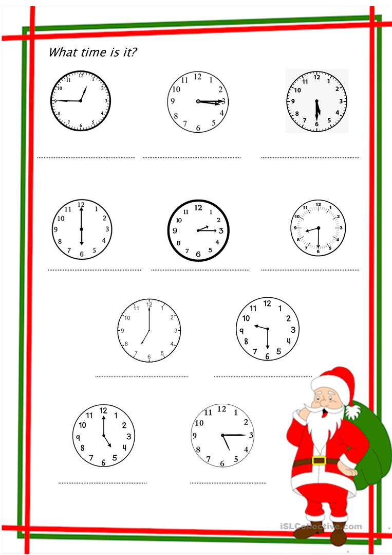 What Time Is It Christmas Edition - English Esl Worksheets