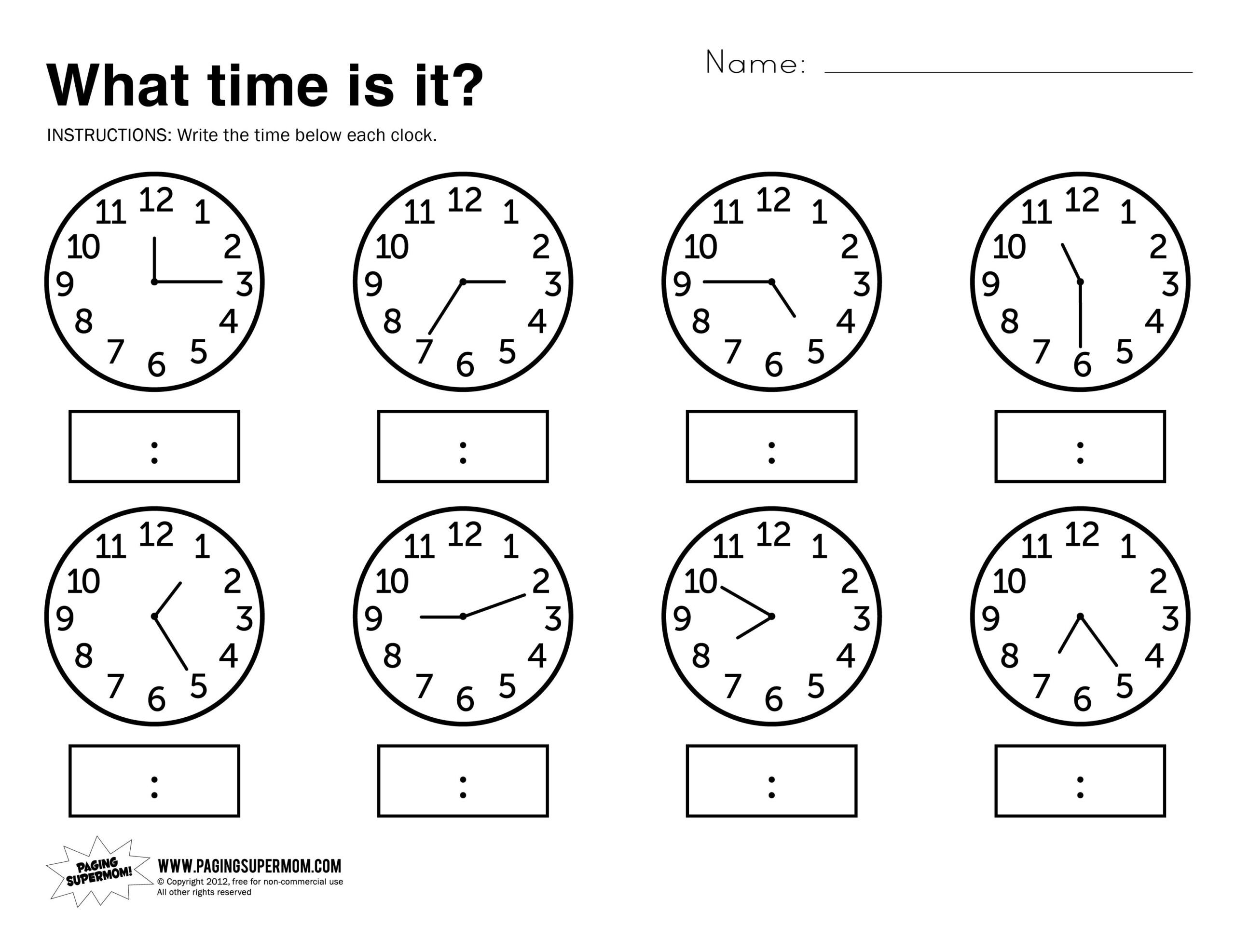 What Time Is It Printable Worksheet | Time Worksheets