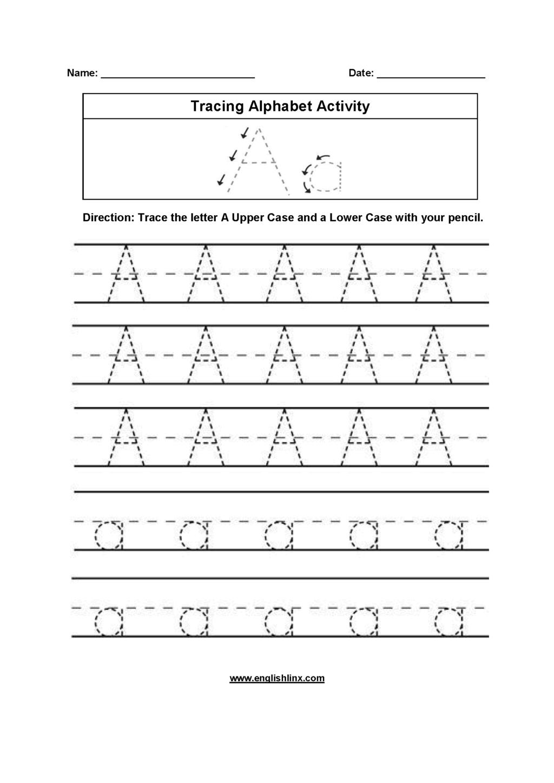 Worksheet ~ Alphabet Tracing Worksheets Worksheet Printable