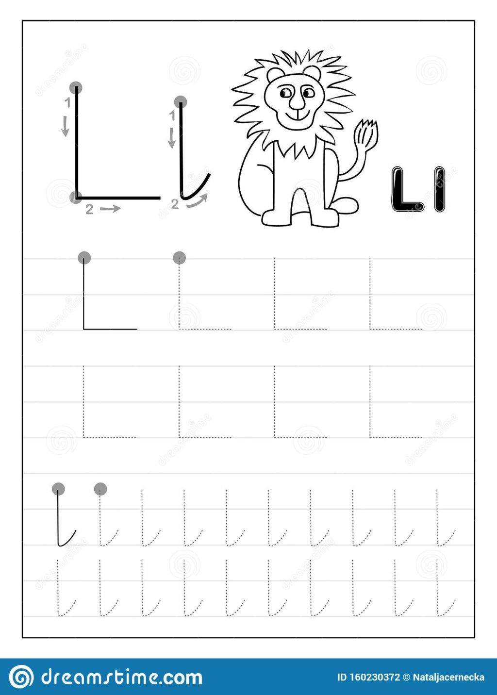 Worksheet ~ Tracing Alphabet Letter L Black And White