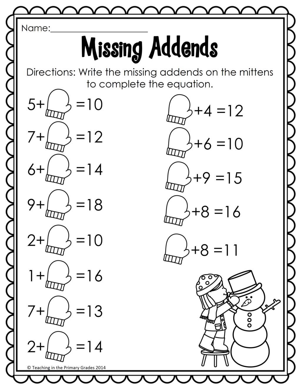 Worksheet ~ Winter Math And Literacy Printables No Prep 1St