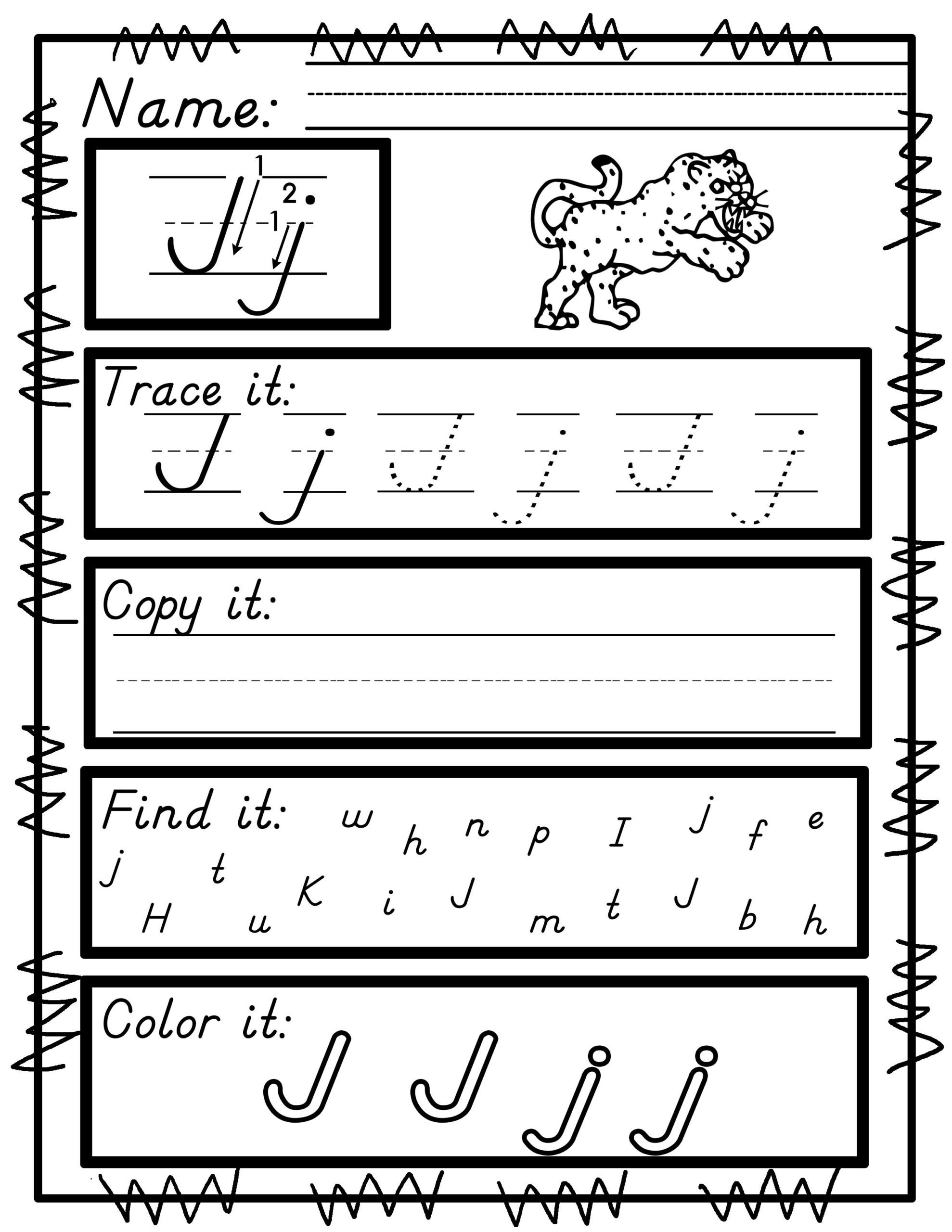 Worksheets For D'nealian Manuscript Handwriting Practice