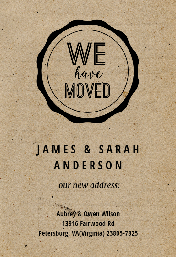 Casual Moving Announcement Template Free Greetings