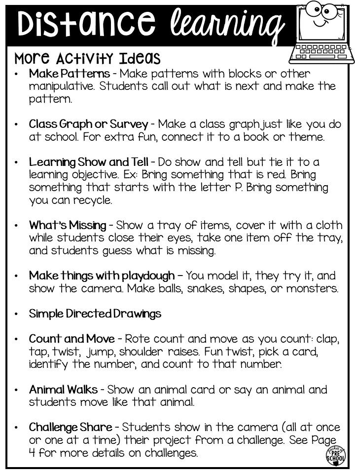 Distance Learning Idea List For Preschool Pre K And